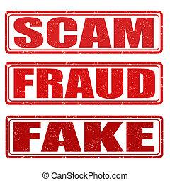 scam, fraude, e, fraude, selos