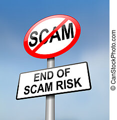 Scam free zone. - Illustration depicting a red and white...