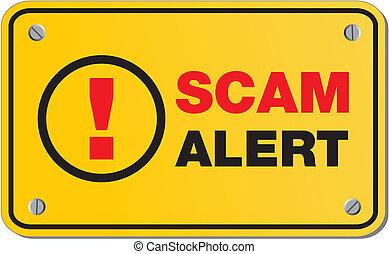 scam, -, giallo, allarme, segno, rettangolo