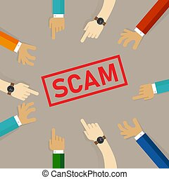 scam, main, texte, ensemble, pointage, alerte