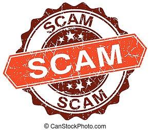 scam orange round grunge stamp on white