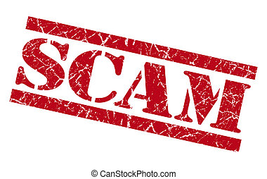 scam red grunge stamp isolated on white