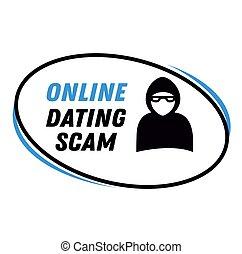 scam, selo, isolado, online, branca, namorando