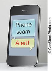 scam, teléfono móvil, discurso, mensaje, burbuja