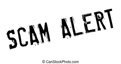 scam, timbre, caoutchouc, alerte