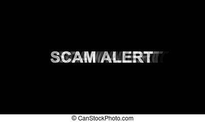 scam, tv, texte, effet, alerte, glitch, animation, 4k, numérique, déformation, boucle