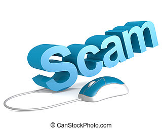 Scam word with blue mouse