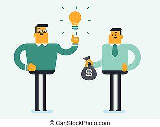 scambiare, uomo affari, soldi., idea, caucasico