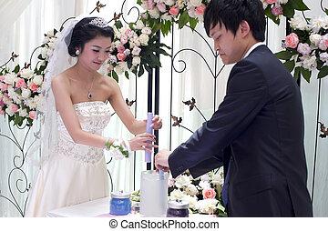 scambio, coppia, voti, giovane, loro, giorno matrimonio