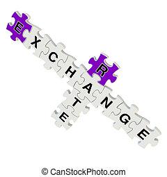 scambio, puzzle, tasso, fondo, bianco, 3d