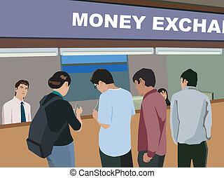 scambio, soldi, contatore, persone, vista posteriore