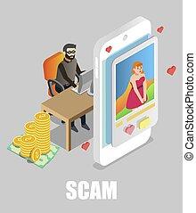 scammer, dater, ligne, scam., bavarder, vecteur, plat, illustration., isométrique, girl