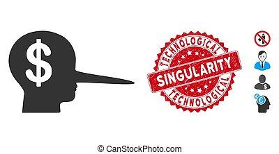 scammer, textured, singularité, technologique, icône, cachet, financier