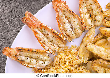 Plate of scampi, isolated on slate background.