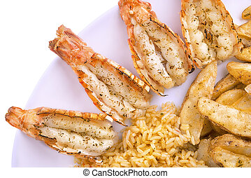 Plate of scampi, isolated on white background.