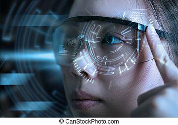 scan., 目, ユーザインタフェース, 技術, 未来派, 光景