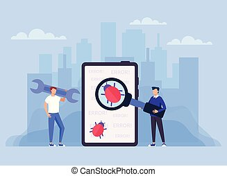 Scan computer anti virus and bug protection technology concept. Vector design graphic flat cartoon isolated illustration