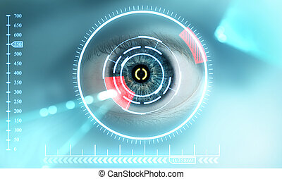 scan eye - Technology scan man's eye for security