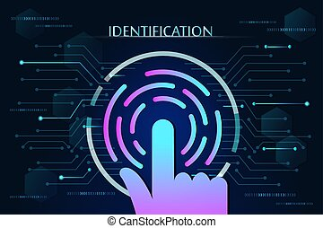 scan fingerprint biometric identity concept and background