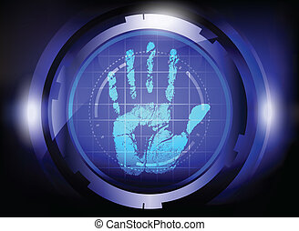 scan hand print . - scan hand print technology on blue...