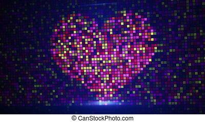 scan heart shape on digital screen loop - scan heart shape...