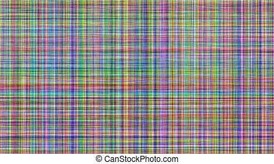 computer generated multicolored flickering horizontal and vertical scan line