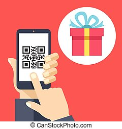 Hand holding smartphone with QR code on screen and gift. Scan QR code and get a gift or discount concept. Flat design vector illustration isolated on red background
