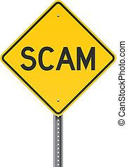 Scan warning road sign