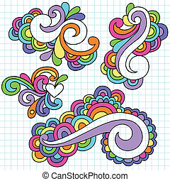 scanalato, doodles, astratto, set, turbini