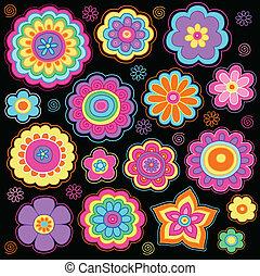scanalato, doodles, fiore, set, potere