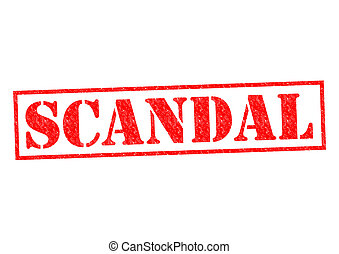 SCANDAL red Rubber Stamp over a white background.