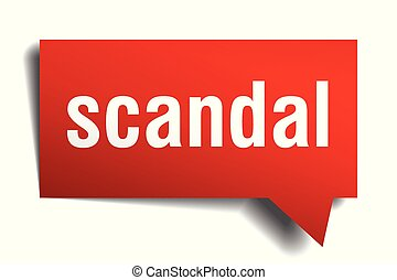 scandal red 3d speech bubble - scandal red 3d square...