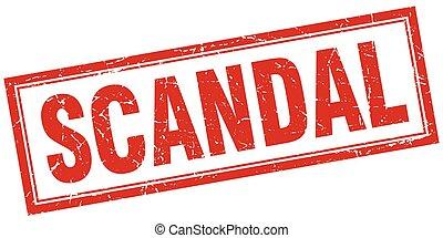 scandal red grunge square stamp on white