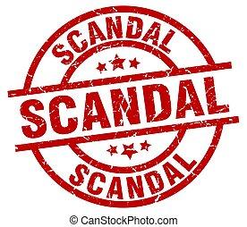 scandal round red grunge stamp