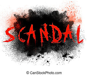 Typography illustration of the word scandal with grungy spatter