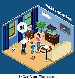 scandale, isométrique, composition, famille