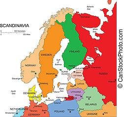 scandanavia, con, editable, países, nombres