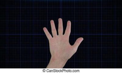 scanderen, futuristisch, technologie, hand