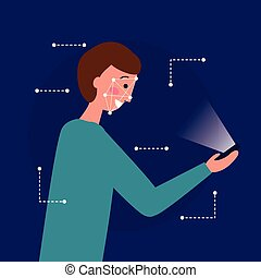 scanderen, gezicht, digitale man, technologie, biometric