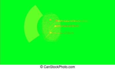 scanderen, vingerafdrukken, rennende , op, een, groene,...