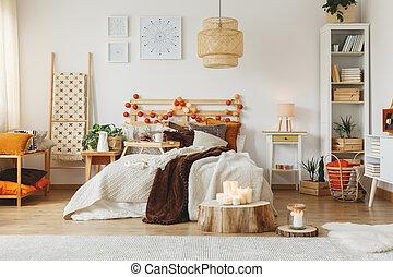 scandi, belső, tágas, hálószoba