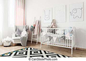 Scandi child's room with armchair - Black and white carpet ...