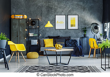 Scandi living room - Citrus in bowl on table in scandi ...