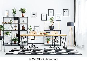 scandi, salle manger, intérieur