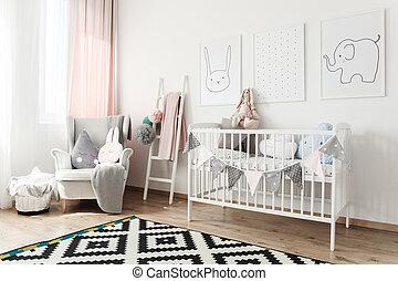 scandi, sillón, habitación, niño