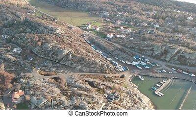 scandinave, éloigné, costal, falaise, village, paysage, aérien