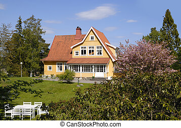 Bois architecture scandinave image de stock recherchez for Architecture traditionnelle scandinave