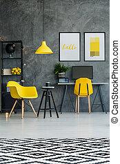 scandinave, détails, jaune, salle
