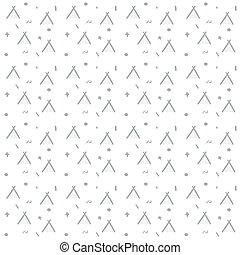 scandinave, doodle., noël, minimaliste, wigwam, hiver, elements., fond, toile, seamless, monoline, vecteur, blanc, conception modèle, noir, vacances, textile