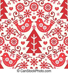 scandinave, folklorique, oiseaux, modèle, textile, nordique, art, conception, tissu, rouges, vecteur, noël, fleurs, seamless